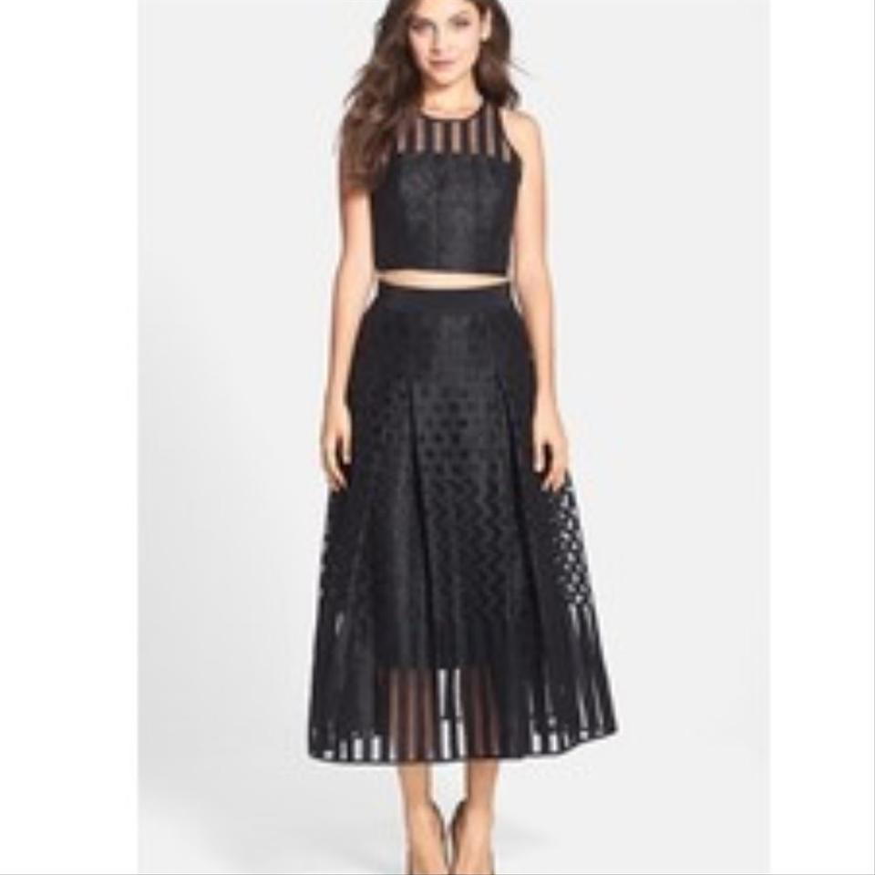 MILLY Black Skirt and Top Set Long Cocktail Dress Size 8 (M) - Tradesy