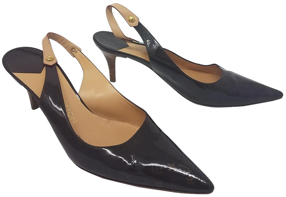6088d8644aa0 Louis Vuitton Brown Beige Gold Lv Monogram Patent Leather Pointed Slingback  Pumps