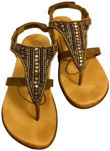 Aetrex Studded Leather Orthotic Comfortable stone Sandals