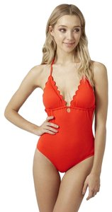 Topshop Plunge Scallop One-Piece Swimsuit