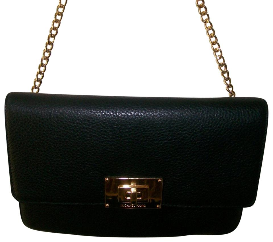 d878c764d1c Michael Kors Gold Purse Medium Small Convertible Black Clutch Image 0 ...
