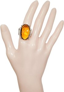 David Yurman David Yurman Silver Large Wheaton Oval Citrine and Diamond Ring