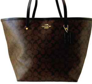 Coach Signature Large Leather Trim Tote in Brown