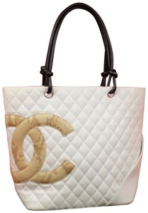 Chanel Cambon Neverfull Gst Python Tote in White