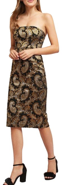 Item - Multi-color Tracy Reese Strapless Jacquard Mid-length Night Out Dress Size 10 (M)