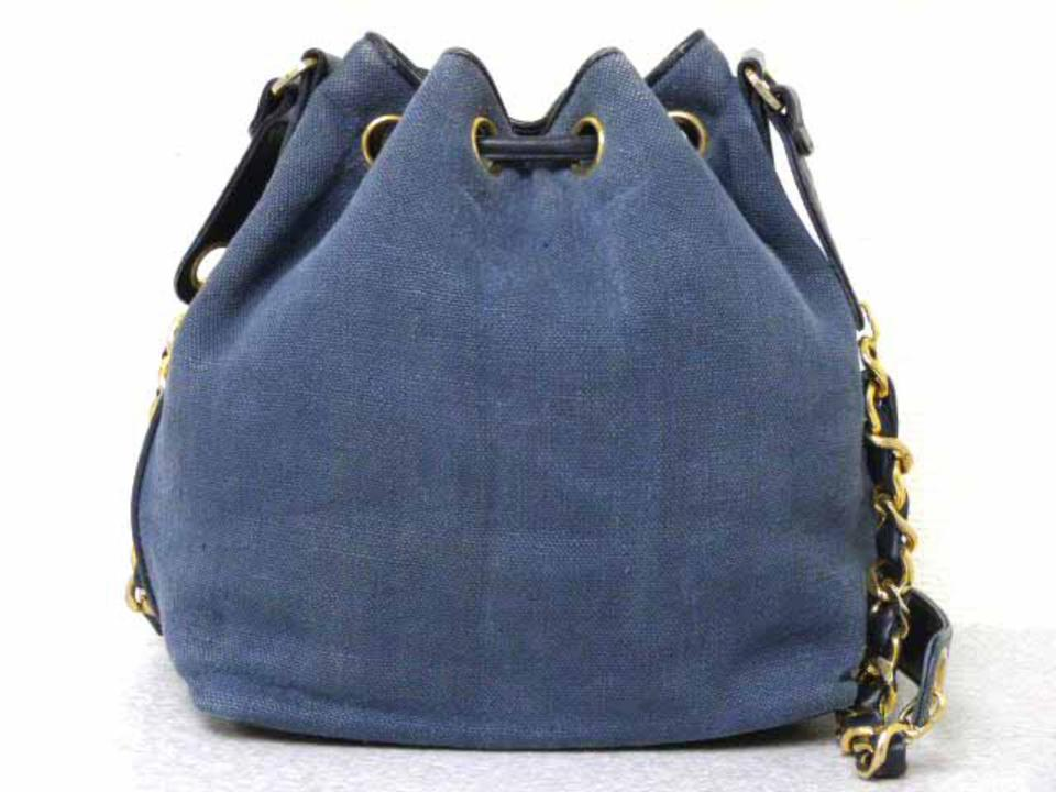 Chanel Drawstring Hobo Denim Chain 226197 Blue X Black Coated Canvas ... ef3f1966e1
