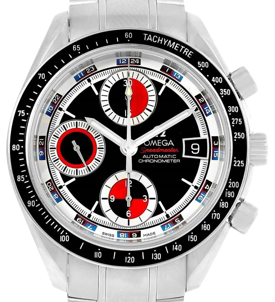 deb42cae1d5dd Omega Omega Speedmaster Black Red Dial Chronograph Watch 3210.52.00 Box Card  Image 0 ...