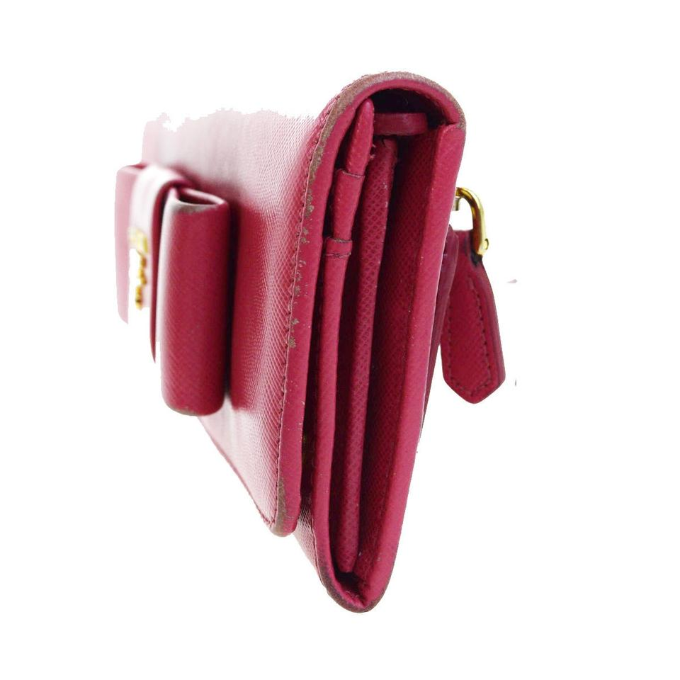 af903ff80a461c Prada PRADA MILANO Logos Ribbon Long Bifold Wallet Purse Leather Pink  07V296 Image 9. 12345678910