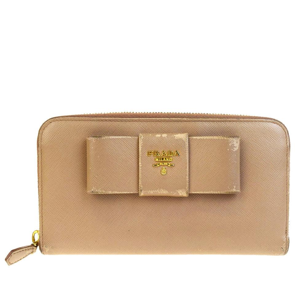 9be4f0fd585691 Prada PRADA MILANO Ribbon Long Bifold Wallet Purse PVC Leather Beige  07V2073 Image 0 ...