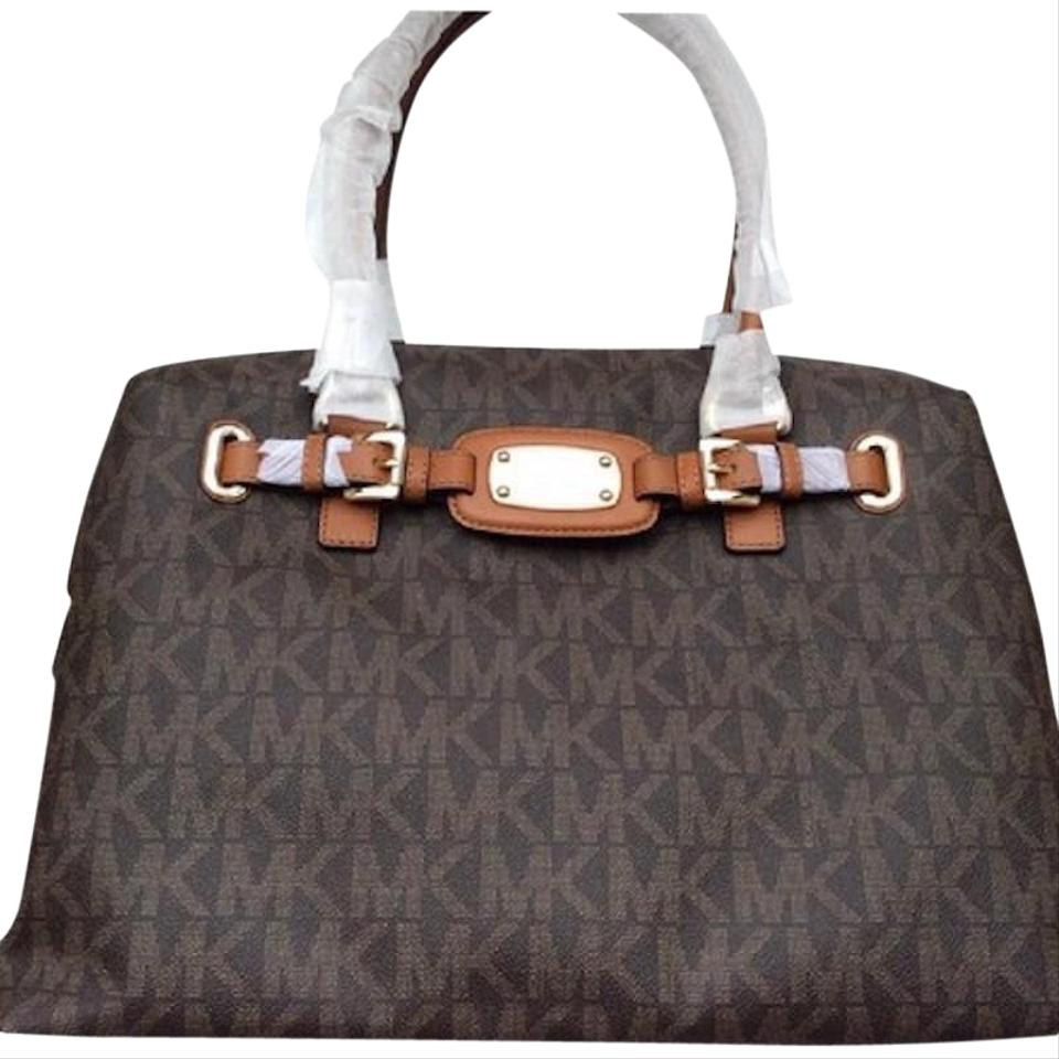 45bc32b1af06bf Michael Kors Sale Hamilton / Tote Brown / Luggage Pvc Coated Canvas /  Leather Weekend/Travel Bag