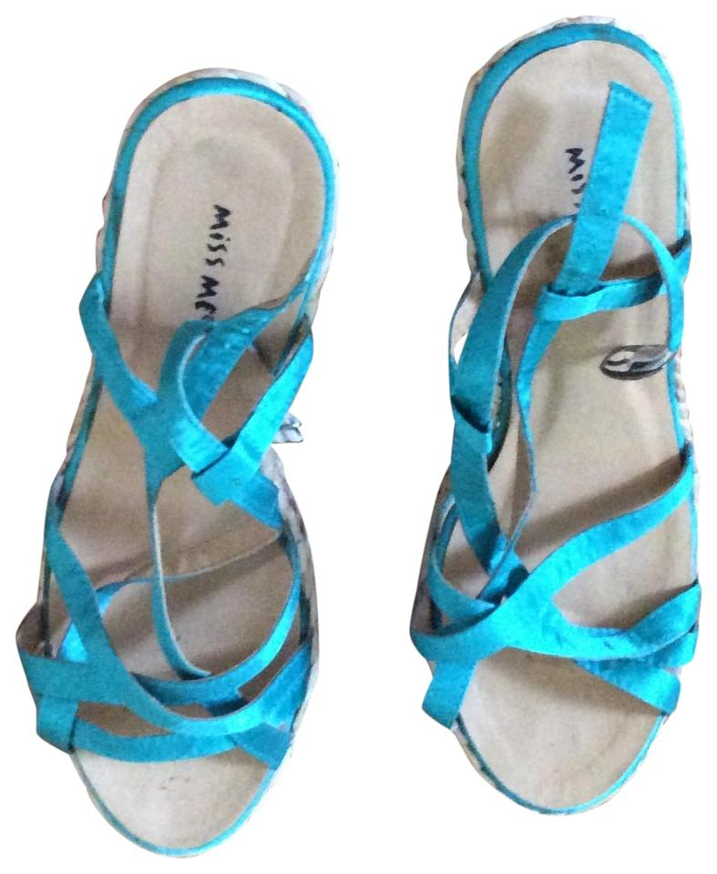 f29a7c397d54 Miss Me Turquoise Wedges Sandals. Size  US 7.5 Regular (M ...