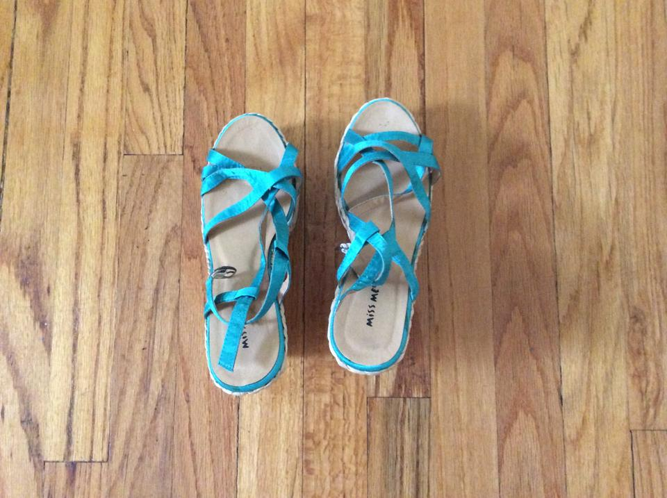 daf5f91777b7 Miss Me Turquoise Wedges Sandals Size US 7.5 Regular (M