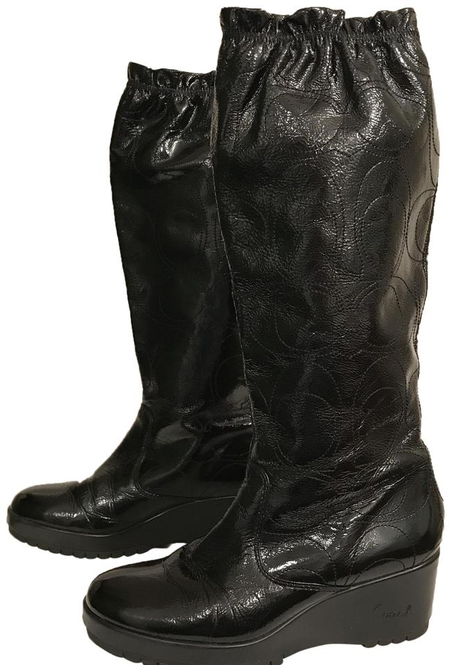 2f32811e505d Coach Black Ceejay Patent Leather Boots Booties Size US 6.5 Regular ...