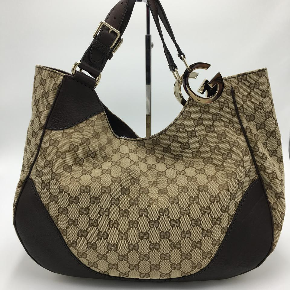 4d8aefda1 Gucci Gg Canvas Charlotte Brown Leather Shoulder Bag - Tradesy