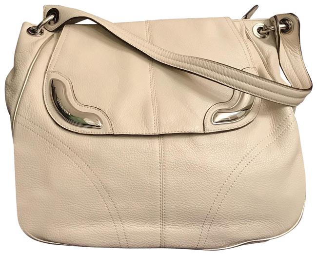 Item - Large White Silver Leather Hobo Bag
