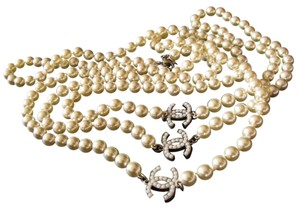 "Chanel Chanel Famous Pearl CC Logo Station Extra Long 72"" Necklace Rare"