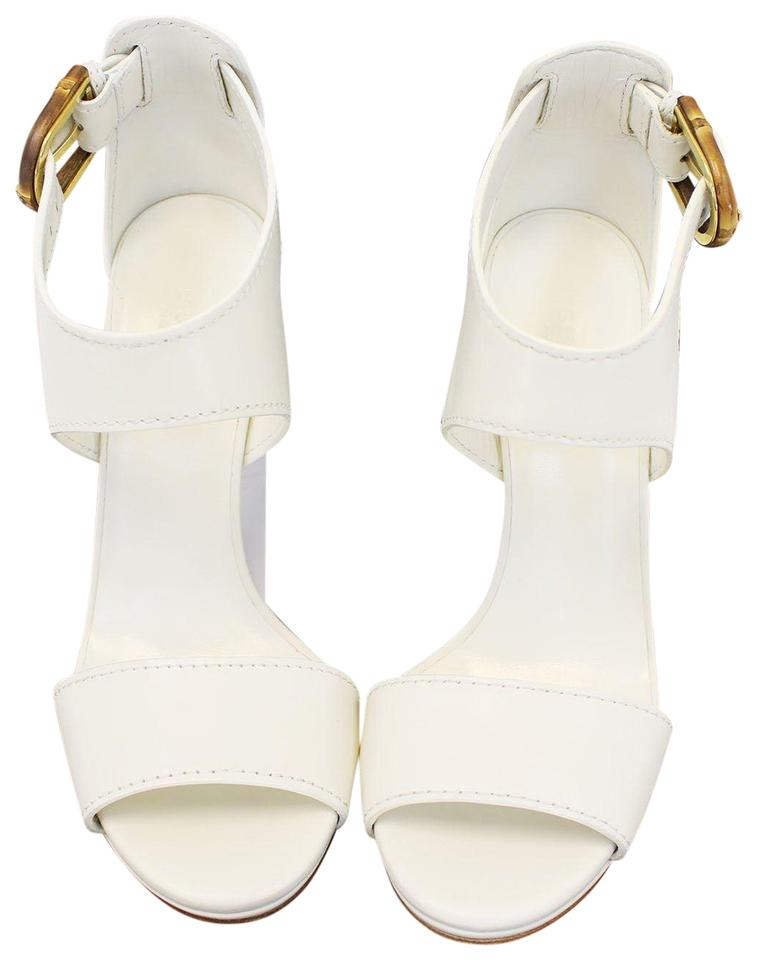 d047063d5fb Gucci Lifford Leather Off White Platform Sandal Bamboo Buckle 338712 ...