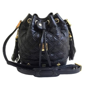 MCM Leather Bucket Quilted Leather Cross Body Bag
