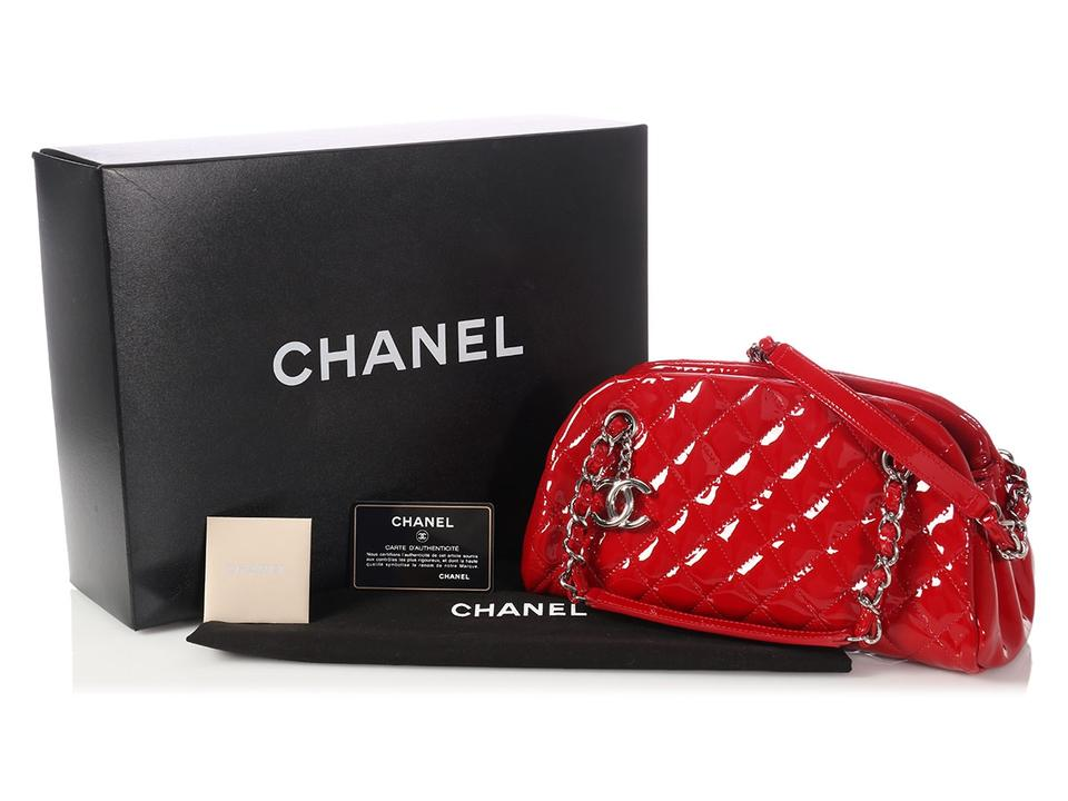 8a8007635fa7 Chanel Mademoiselle Small Just Bowler Rouge Red Patent Leather ...