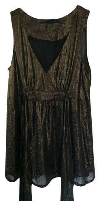 French Connection Sleeveless V-neck Tank Nwt Top Metallic
