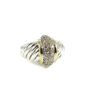 David Yurman David Yurman Sterling Silver 18K .40tcw Large Pave Diamond Shrimp Ring