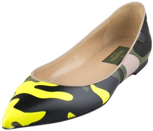 Valentino Pointed Toe Leather Camouflage Multi-Color Flats