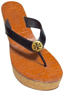 Tory Burch Patent Leather Thong Slip On Black Platforms