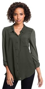 Splendid Mixed Media Army Military Mixed Media Button Down Shirt Green