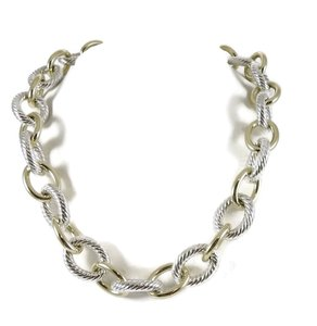 "David Yurman David Yurman Sterling Silver 18K 18"" Extra Large Oval Link Necklace"
