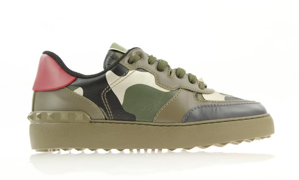 898298af370a Valentino Green Camouflage Leather Rockrunner Sneaker Sneakers Size ...