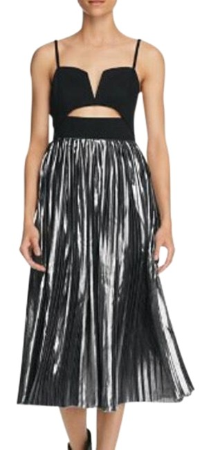 Item - Black and Silver Piper Pleated Midi Party Mid-length Night Out Dress Size 4 (S)