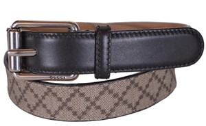 Gucci New Gucci Men's 268648 Beige Coated Canvas Black Leather Belt 34 85