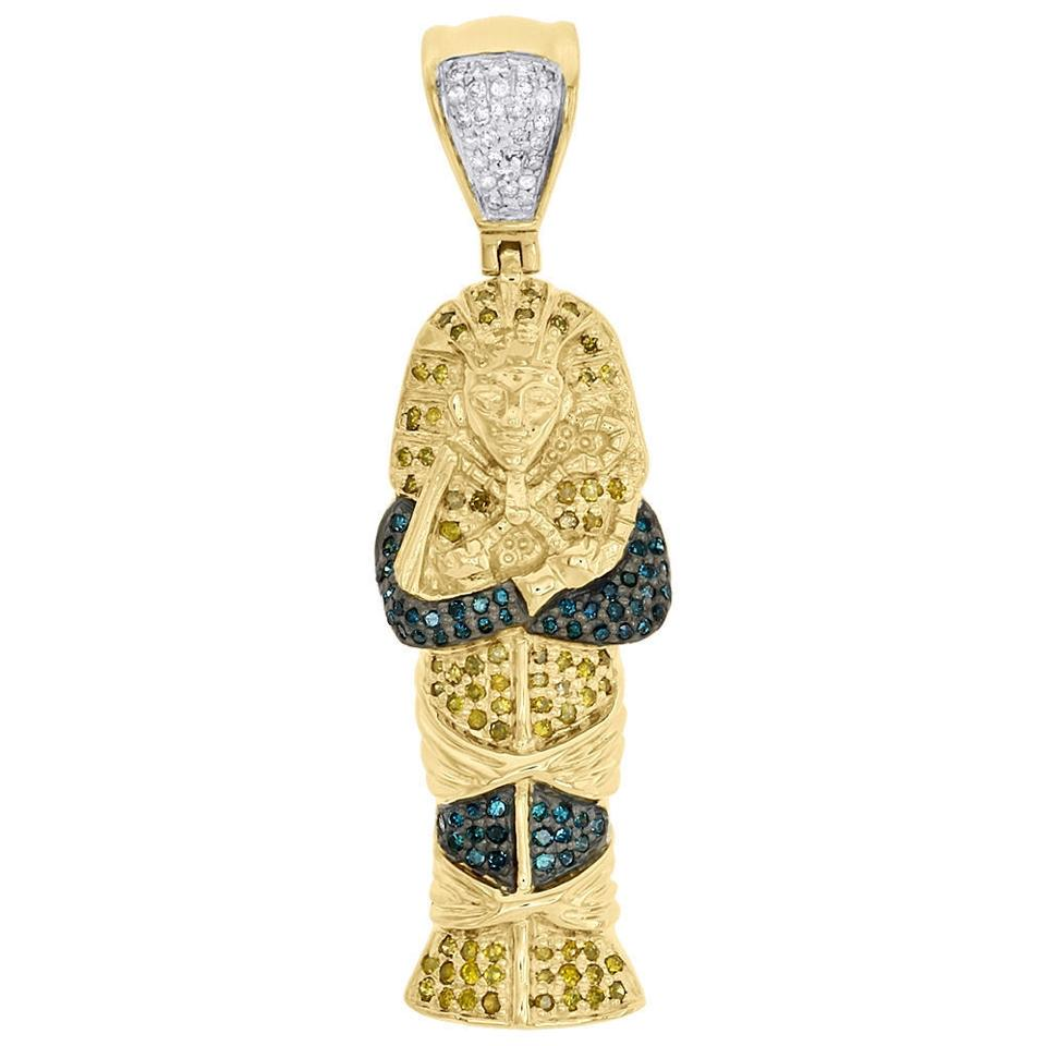 Jewelry for less yellow gold 10k diamond egyptian pharaoh king tut jewelry for less 10k yellow gold diamond egyptian pharaoh king tut pendant charm 45 ct aloadofball Gallery