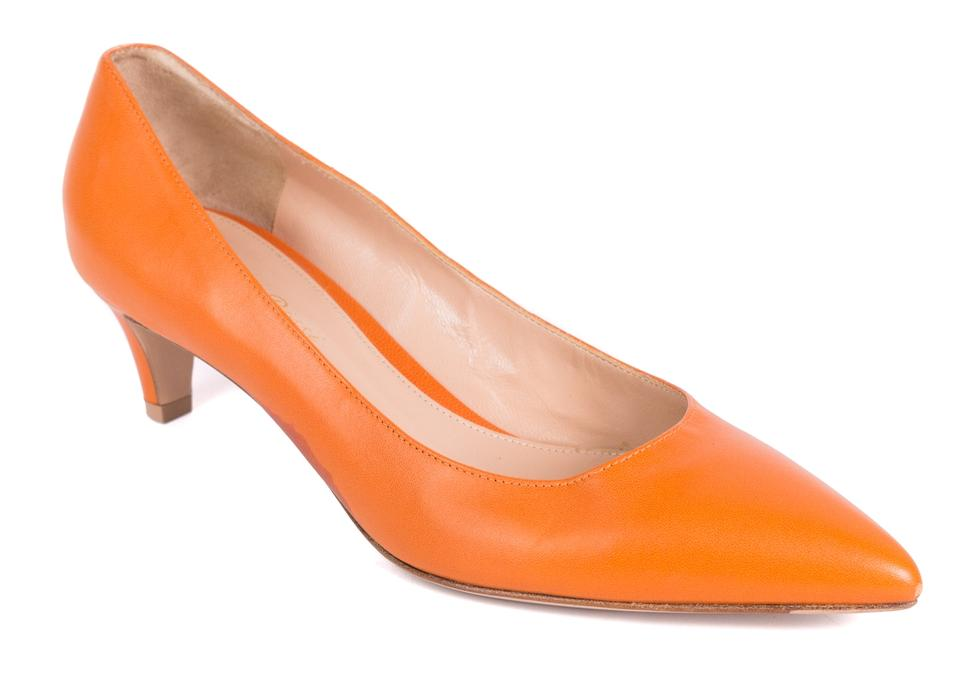 Gianvito Toe Rossi Orange Leather Pointed Toe Gianvito Kitten Heels C1526 Pumps a7446c