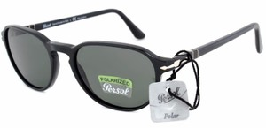 1026d1a2b738a Persol Persol Oval Sunglasses PO3053S 901458 Black Frame Grey Polarized Lens