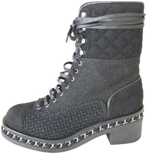 Chanel Cc Tweed Lace Up Flannel Chain Black Boots