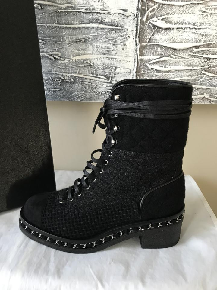 3dbb2192e95 Chanel Cc Tweed Lace Up Flannel Chain Black Boots Image 11. 123456789101112