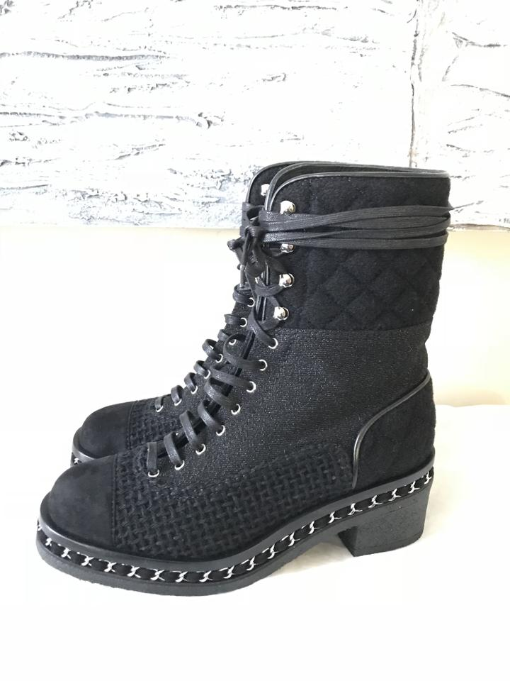 1cba4b48fec Chanel Black 16b Quilted Flannel Tweed Suede Lace Up Chain Boots/Booties  Size EU 37 (Approx. US 7) Regular (M, B) - Tradesy