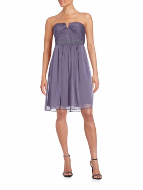 Item - Lilac Shirred Chiffon Strapless Mid-length Cocktail Dress Size 4 (S)