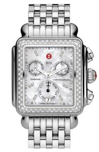 Michele Michele Deco Diamond Classic in Stainless Steel Mother of Pearl Dial
