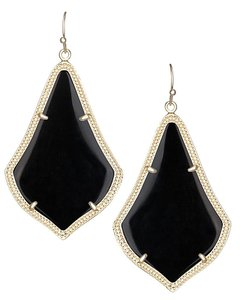 Kendra Scott NEW Kendra Scott Alex Black & Gold Plated Glass Drop Earrings
