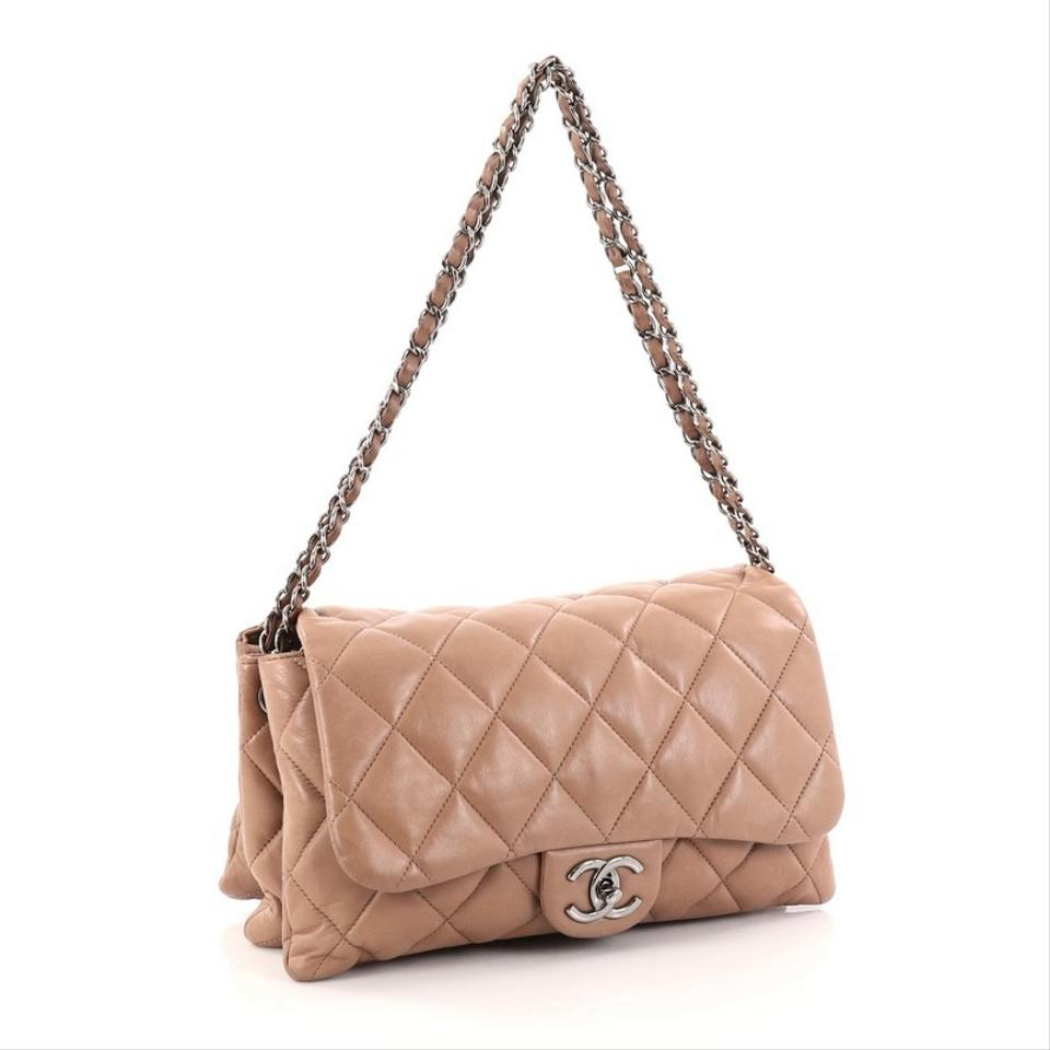 1607c39453b3 Chanel Classic Flap 3 Accordion Quilted Lambskin Jumbo Taupe Leather ...