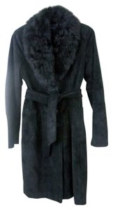 Banana Republic Suede Belted Leather Fur Coat