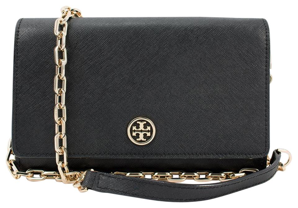 57e11dbdfa1 Tory Burch Black Robinson Crossbody - Saffiano On A Chain Wallet ...