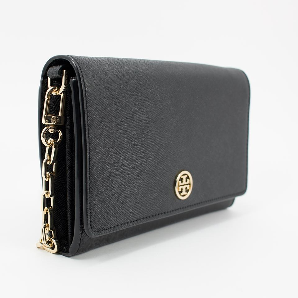 Tory Burch Black Crossbody Robinson Saffiano Wallet On A Chain 12345678