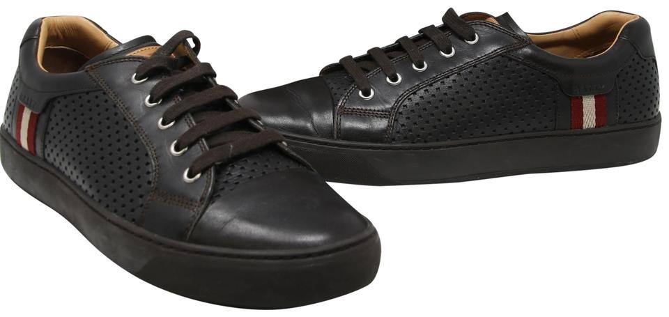 4d9e92c1115 Bally Dark Brown Signature Men s Olbia Perforated Leather Lace Up Calf  Leather Sneakers. Size  US ...