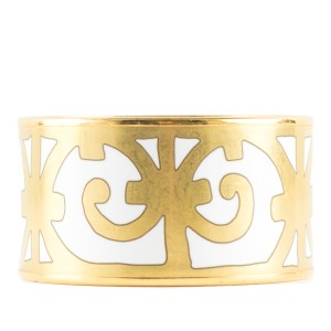 Hermès Hermès White & Gold Extra Wide Bangle