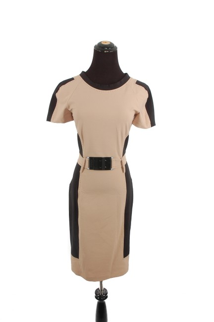 Item - Tan and Black Belted Mid-length Work/Office Dress Size 4 (S)