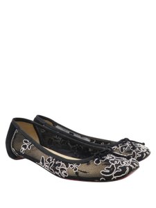 Christian Louboutin Mesh Floral Embroidered Ballet Black White Flats