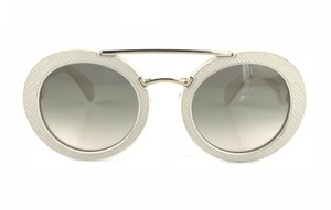 Prada Round Saffiano Leather Sunglasses
